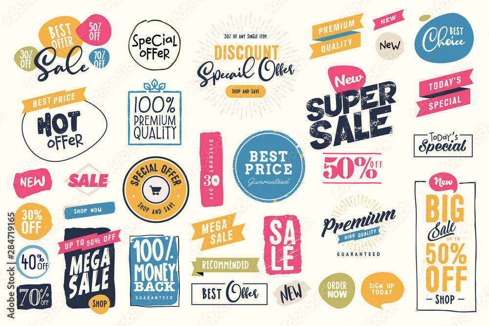 Fototapeta Set of labels and stickers for sale, product promotion, special offer, shopping, e-commerce. Isolated vector illustrations for web design and marketing material.