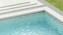 Blank Blue Rippled Water In Swimming Pool Mockup, 3d Rendering. Empty Basin In Hotel Or Home Exterior Mock Up, Side View. Clear Aqua Surface In Poolside Template.