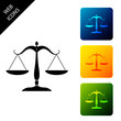 Scales of justice icon isolated on white background. Court of law symbol. Balance scale sign. Set icons colorful square buttons. Vector Illustration