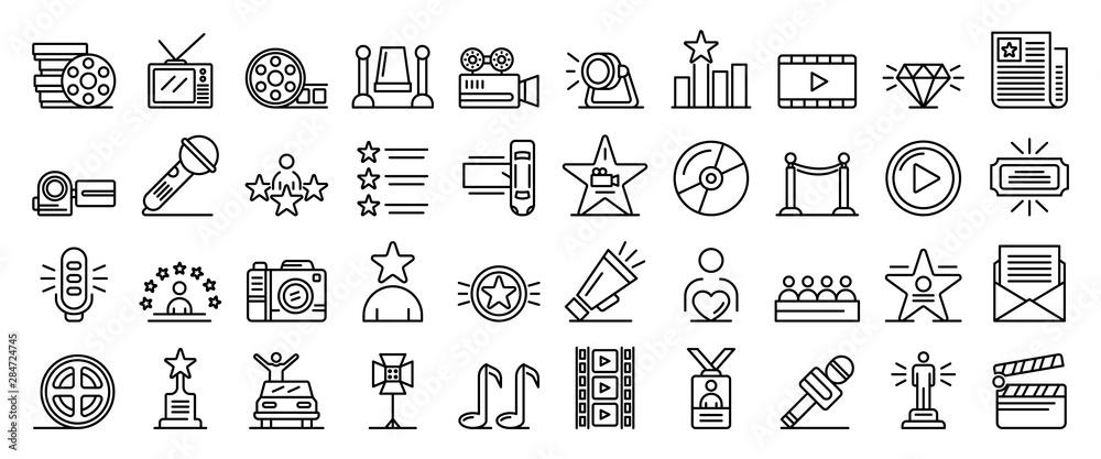 Fototapeta Celebrity icons set. Outline set of celebrity vector icons for web design isolated on white background