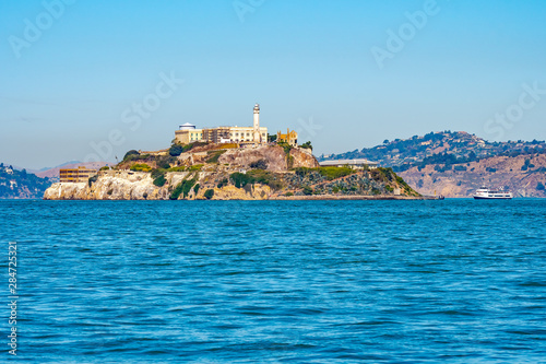 Alcatraz Prison Island in San Francisco Bay, offshore from San Francisco, California, a small island with military fortification and federal prison, now a famous national historical landmark Tapéta, Fotótapéta