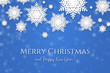 Christmas & winter greeting card blue background