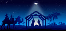Christmas Nativity Scene Blue ...