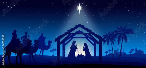 Obraz na plátně Christmas Nativity Scene blue background