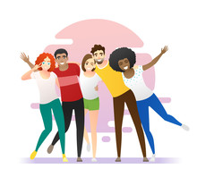 Friendship Concept Background With Group Of Young Friends Having Fun Together , Vector , Illustration