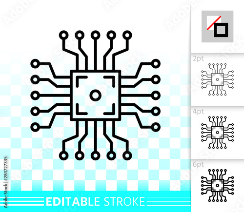 Fotografie, Obraz  Microchip circuit simple black line vector icon