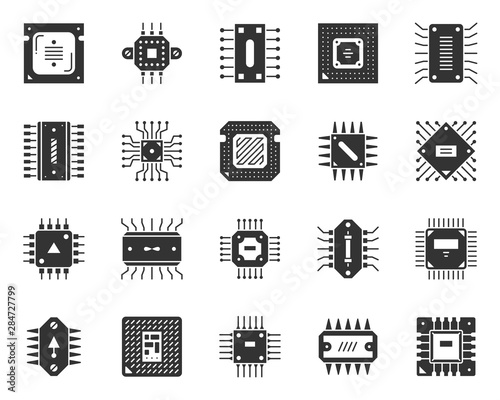 Fototapeta  Microchip black silhouette icons cpu vector set