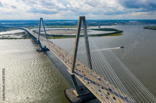 Photo Aerial drone photo Arthur Ravenel Jr Bridge
