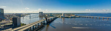 Aerial Panoramic Photo Downtown Jacksonville Bridges Over The St Johns River