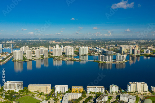 Fotografie, Obraz  Aerial drone photo Aventura FL USA on a beautiful blue day