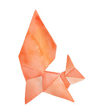 Water Color Drawing Of Origami Squirrel. Sign Of Activity, Action, Balance, Preparedness, Charm, Swiftness. Handdrawn Watercolour Brush Stroke Painting On White, Cutout Clipart Element For Design.