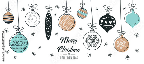 Fototapeta Set of hand drawn christmas baubles. Decoration isolated elements. Doodles and sketches vector illustration obraz