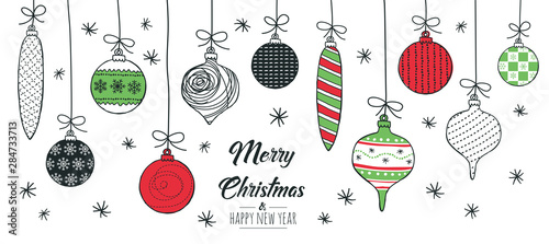 Photo  Merry Christmas greeting card red and green with modern baubles