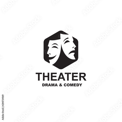 Fotografie, Obraz  icon of comedy and tragedy theatrical masks isolated on white background