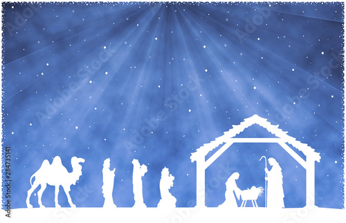 Obraz na plátně  Christmas Nativity Scene white silhouette on blue background