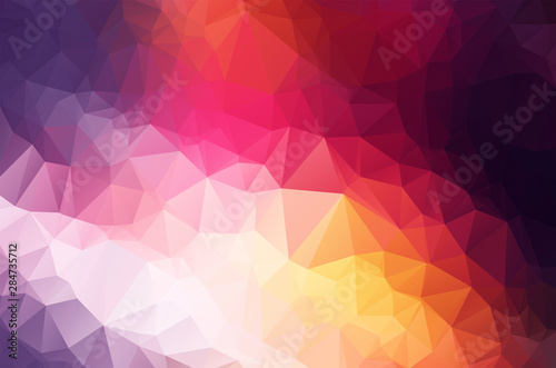 Valokuva Multicolor purple, yellow, blue, red polygonal illustration, which consist of triangles
