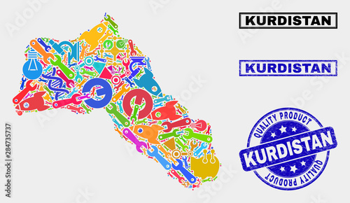 Cuadros en Lienzo  Vector collage of tools Kurdistan map and blue watermark for quality product