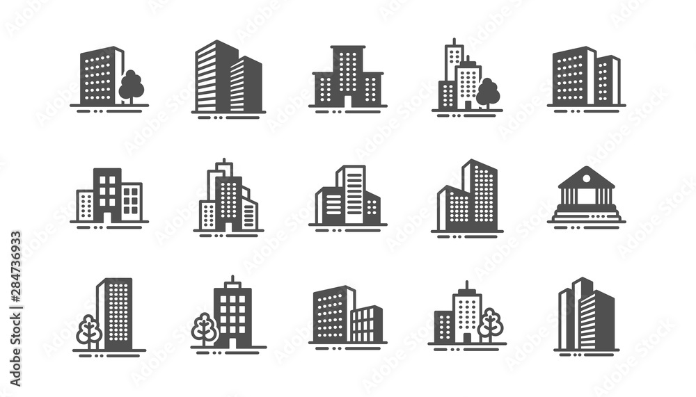 Fototapety, obrazy: Buildings icons. Bank, Hotel, Courthouse. City, Real estate, Architecture buildings icons. Hospital, town house, museum. Urban architecture, city skyscraper. Classic set. Quality set. Vector