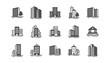 Buildings icons. Bank, Hotel, Courthouse. City, Real estate, Architecture buildings icons. Hospital, town house, museum. Urban architecture, city skyscraper. Classic set. Quality set. Vector