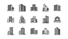 Buildings Icons. Bank, Hotel, ...