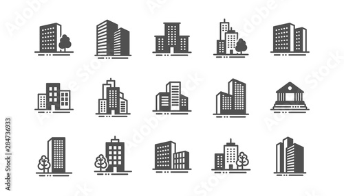 Obraz Buildings icons. Bank, Hotel, Courthouse. City, Real estate, Architecture buildings icons. Hospital, town house, museum. Urban architecture, city skyscraper. Classic set. Quality set. Vector - fototapety do salonu