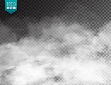 Realistic Fog, Mist Effect. Smoke Isolated On Transparent Background. Vector Vapor In Air, Steam Flow. Clouds.