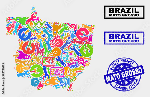 Fotografija  Vector combination of service Mato Grosso State map and blue seal for quality product