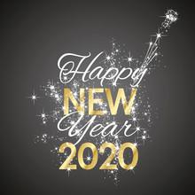 2020 Happy New Year Firework Black Background Vector