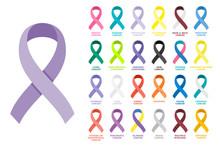 Awareness Ribbons Set. Different Color Ribbons On White Background. All Cancer Colorful Awareness Bows. Collection, Design Element, Sign, Symbol, Emblem, Banner, Poster. Vector Illustration, Flat.