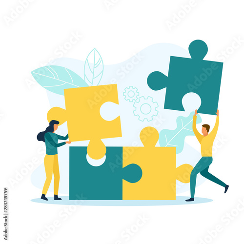 Business people with puzzle pieces Canvas-taulu