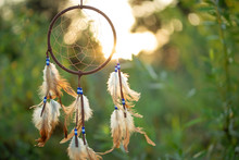 Dreamcatcher At Sunset With Copy Space, Symbol, Tradition, Signs. Boho Style