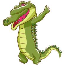 Crocodile Vector Dabbing Clipart Design
