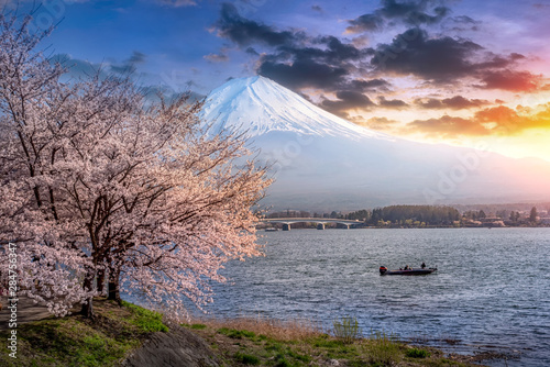 Foto auf Gartenposter Grau Mountain fuji background, Mountain Fuji in Japan at lake Kawaguchiko is one of the best places japan in the spring with cherry blossoms