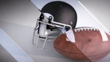 A 3D Render Of A Football And Football Helmet, With A Moving Glass Panes Effect.