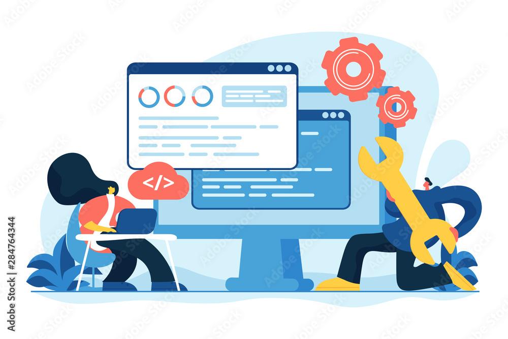 Fototapeta Programming and coding, website, webpage optimization. Back end development, software development process, backend app developer concept. Vector isolated concept creative illustration