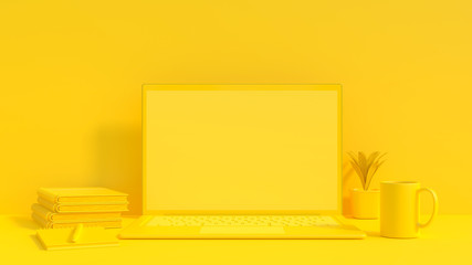 Yellow laptop mock-up for your text and background.