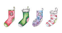 Set Of Hand-drawn Gift Socks O...