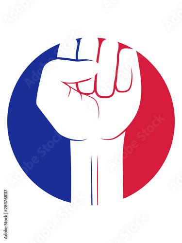 Fotomural blau rot sticker kreis revolution symbol faust hand strecken oben luft halten ze