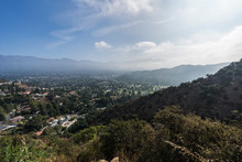 Hilltop View Of Montrose And La Canada Flintridge With Misty Morning Clouds In Los Angeles County California.