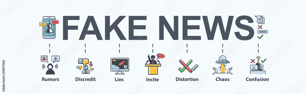 Fototapeta Fake news banner meaning icon in social media, fake, discredit, lie, confusion, incite and distortion. Flat vector infographic