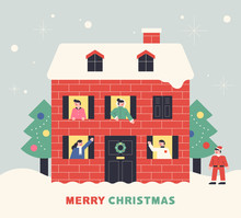 Christmas House. Santa With Neighbors Greeting Through The Window. Flat Design Style Minimal Vector Illustration.