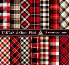 Set Tartan Check  Plaid  Seamless Patterns Backgrounds