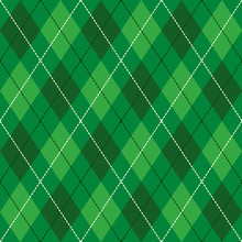 Green  And  White Seamless Argyle Pattern Vector Background