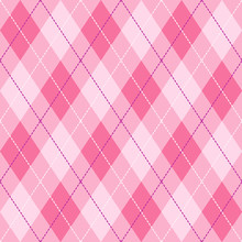 Pink, Violet  And  White Seamless Argyle Pattern Vector Background