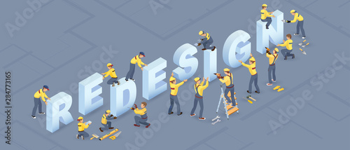 Fotografie, Obraz Isometric redesign services concept