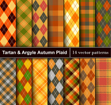 Set Autumn Tartan And Argyle  ...