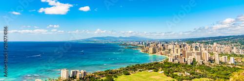 Fotomural  Hawaii panoramic banner view of Honolulu Waikiki beach USA summer travel vacation