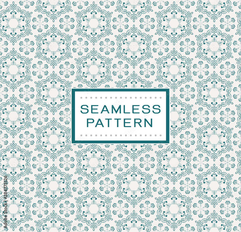 Vintage floral seamless pattern. Vector seamless texture with flowers and traditional pattern. Endless floral pattern.