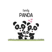Cute Panda Family Father Mothe...
