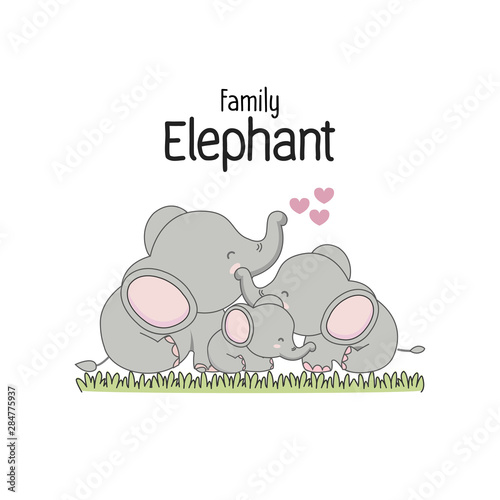 Fotografía Elephant Family Father Mother and baby.